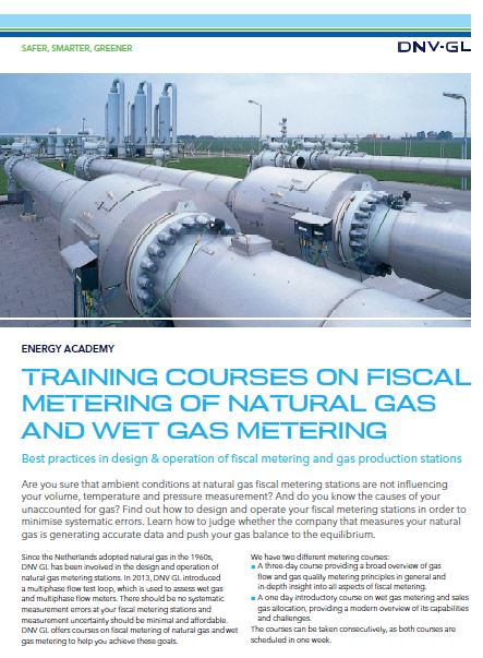 Training courses on fiscal metering of natural gas