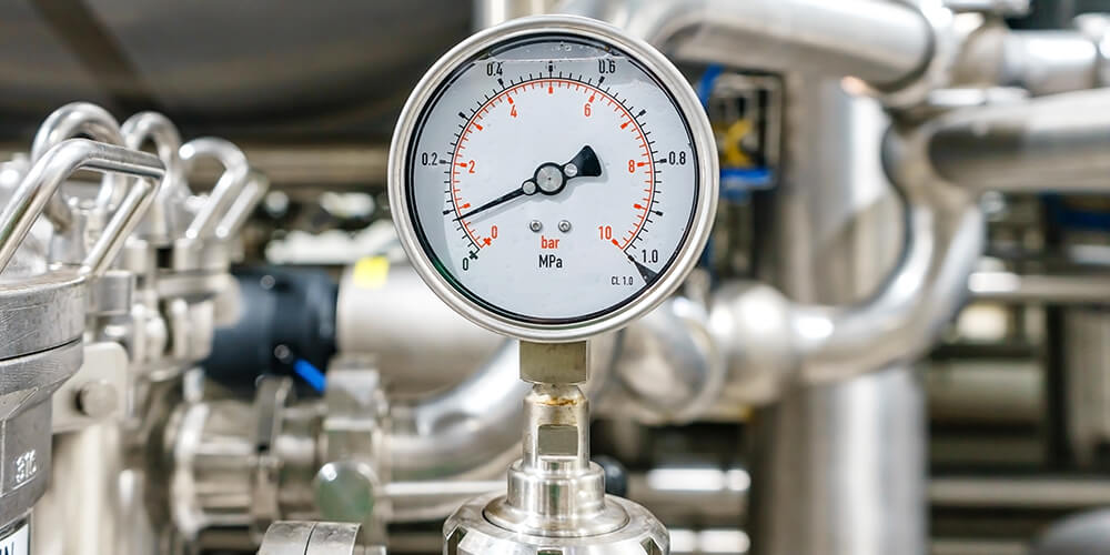 Pressure gauge, measuring instrument close up on pneumatic control system