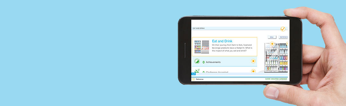 Hand holding smartphone with DNV GL's SustainableI app